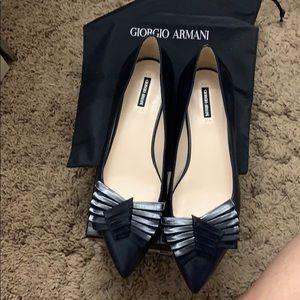 BNIB Giorgio Armani Black Leather Flats